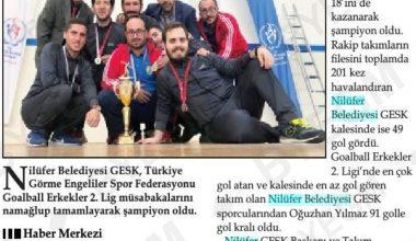 Goalball Şampiyonluğumuz Manşetlerde