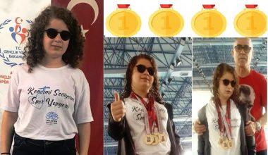 Havuzun Altın Kızı Sümeyye'den 4 Altın Madalya.