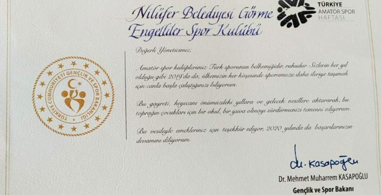 Spor Bakanından Kulübümüze Kutlama
